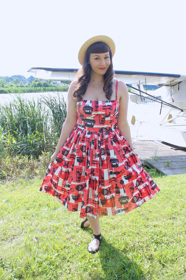 midcentury print dress
