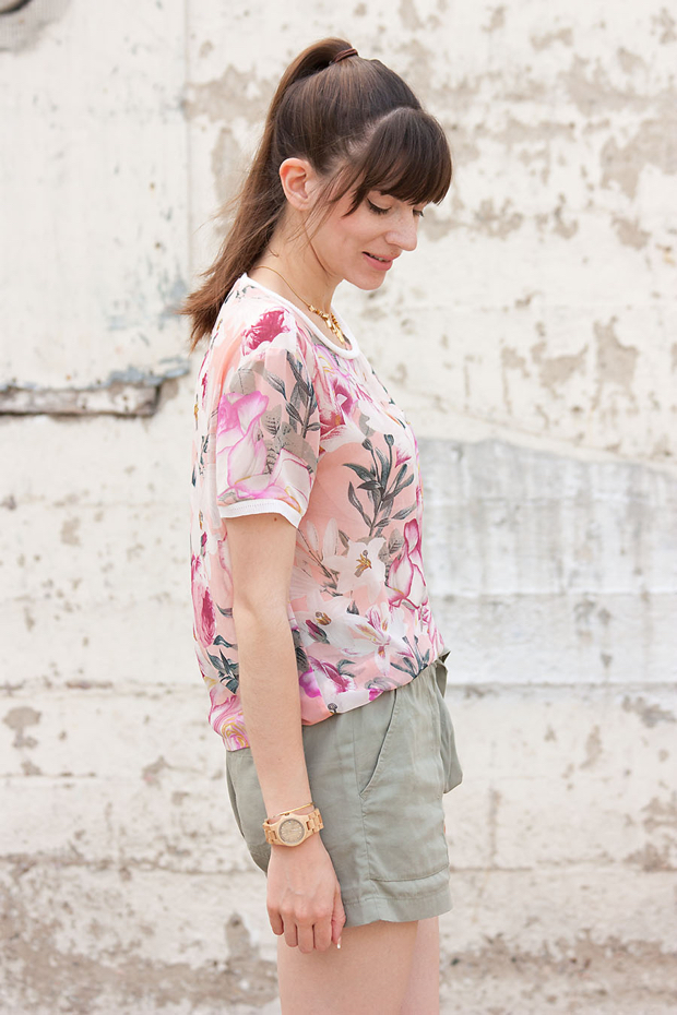 Jord Watch, Pink Floral Top, Gap Tie Shorts