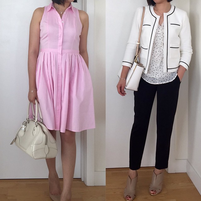 Ann Taylor Pleated Shirt Dress & Tipped Collarless Jacket
