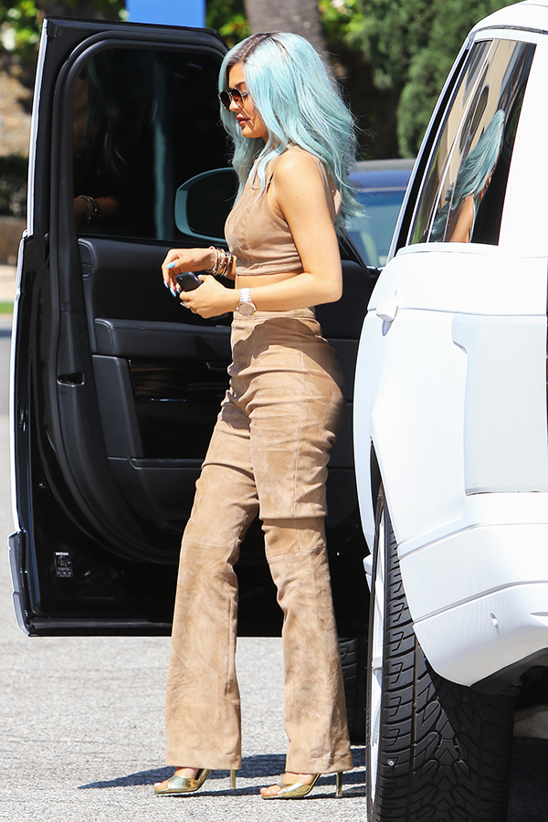 Kylie Jenner Nude Suede Top and Pants Outfit Details