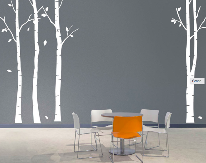 grey walls with white birch trees