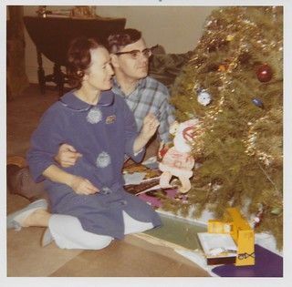 Parents with Christmas tree