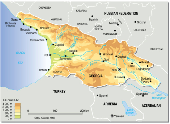 Georgia Topographic Map GRIDArendal - Mapa de georgia