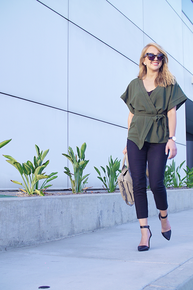 asos green kimono, classic office attire, tortoise cat eye sunglasses