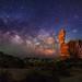 "Milky Way behind Balanced Rock by IronRodArt - Royce Bair (""Star Shooter"")"