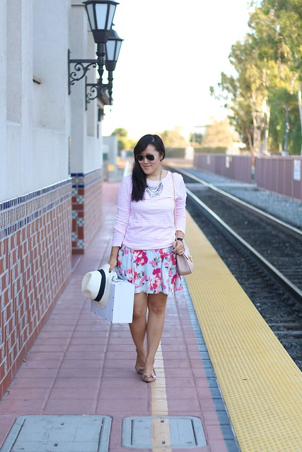 simplyxclassic stripes and florals, striped top, floral skirt, old navy, old navy style, ootd, mommy blogger, fashion blogger, beauty blogger, crew, chloe drew bag, panama hat, daniel wellington watch, vintage suitcase, ootd, style