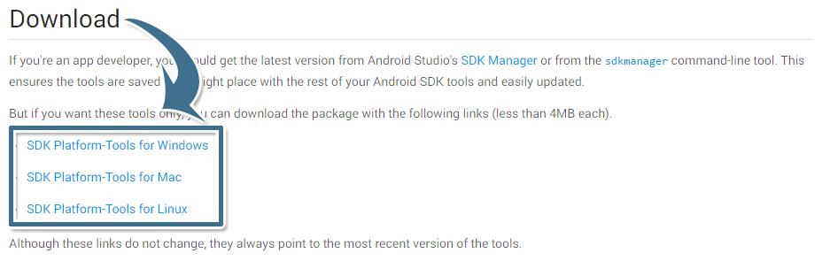 三種作業系統版本的 Android SDK Platform Tools 下載連結