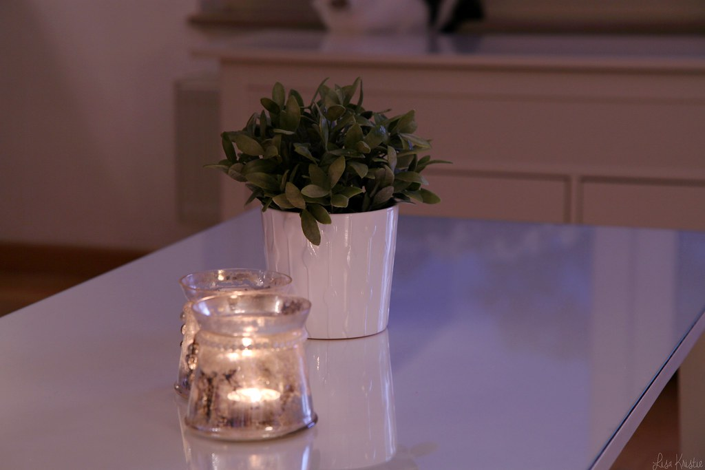 coffee table evening candles tealight tea light ikea fake plant pot white living room sunset home