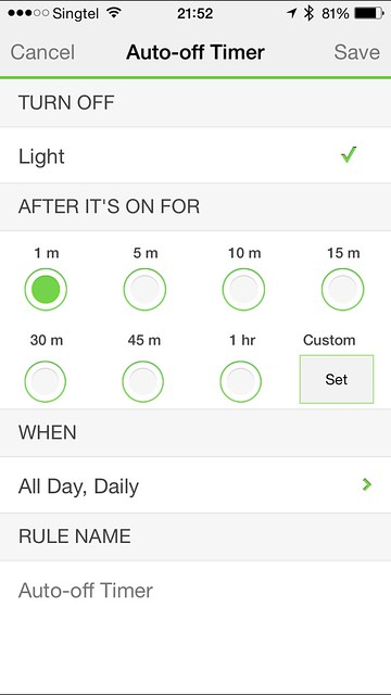 WeMo iOS App - Auto-off Timer