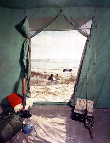 Camping gear inside a tent in Florida