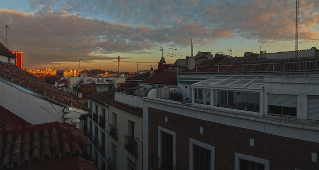 Madrid at sunset, POV Calle Moratin; Barrio de Las Letras (2016)