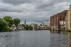 Looking back downstream to Thornes Boatyard and the tall spire of Wakefield Cathedral