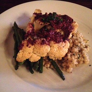 "Cauliflower ""steak"" with olive tapenade at Portobello in PDX"