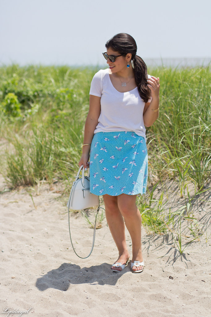 white tee, blue scalloped honey bee skirt, white bag-3.jpg