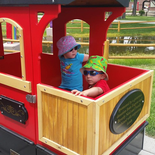 The kids first ride on Storybook Island train.
