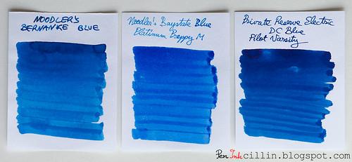 Noodler's Bernanke Blue vs Noodler's BSB vs PR Electric DC Blue