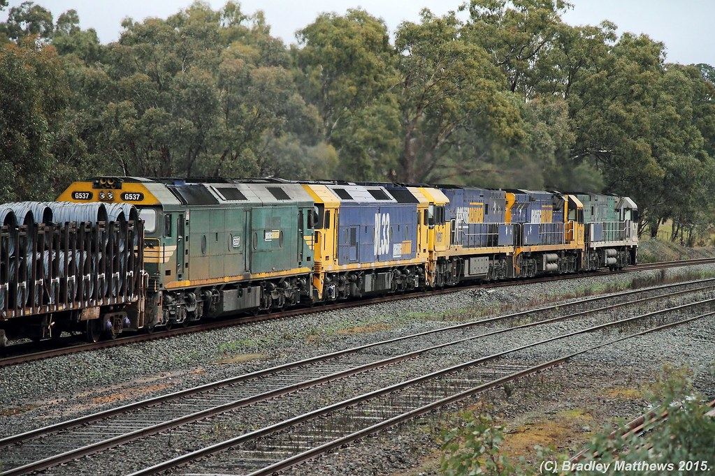 G537 trailing BL33-NR97-9317-NR85 (SS) with 4BM2 up PN freight at Broadford (24/7/2015) by Bradley Matthews
