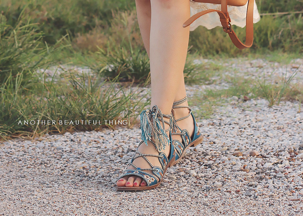 Forever 21 Embroidered lace-up sandals with tassels