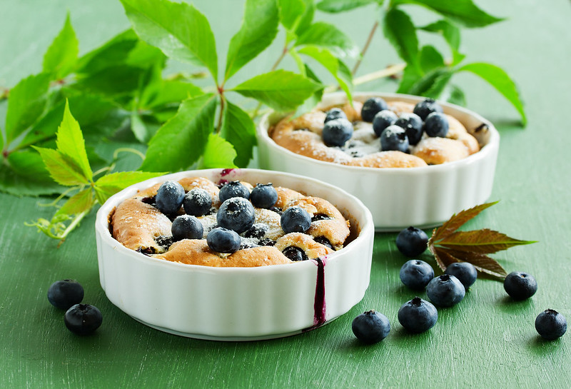 Summer Clafoutis pie with blueberries.