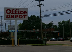 Office Depot sign, and the Poplar and E. Yates intersection