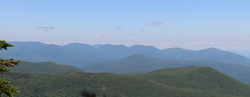 Zoomed-in Panorama view northeast to the Devil's Path from near the Summit of Balsam Cap