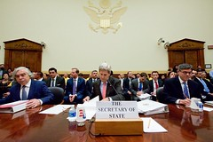 U.S. Secretary of State John Kerry, flanked by U.S. Energy Secretary Dr. Ernest Moniz and U.S. Treasury Secretary Jack Lew, prepares to testify on July 28, 2015, about the Iranian nuclear deal before the House Foreign Affairs Committee in Washington, D.C. [State Department photo/ Public Domain]