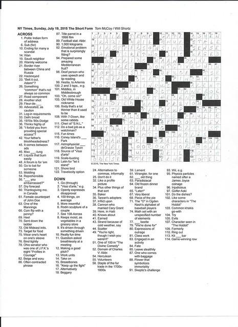 NYT Sunday Puzzle - July 19, 2015