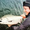 Releasing a Chinook salmon at Langara Island, Haida Gwaii
