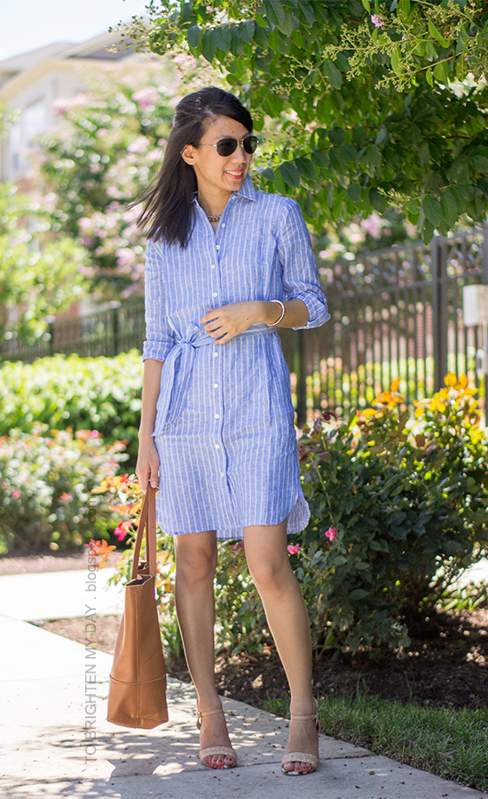 blue and pink stripe shirt dress, raffia heels