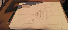 Landscape 1 point perspective (first try) #drawing #pencil #learning