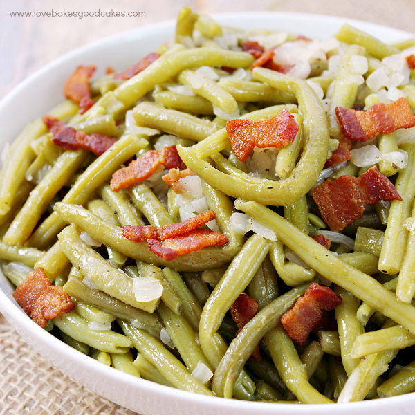 Southern-Style Green Beans close up in a white bowl.