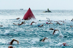 Swimmers at the start of the Ironman competion Phuket.