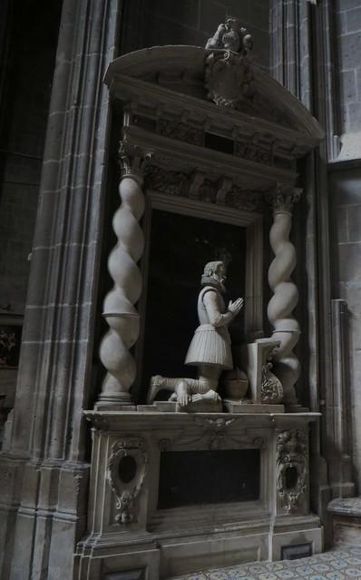Tombeau de Jean de Seigneuret de la Borde, 1610, chapelle St Joseph, cathédrale St  Just et St Pasteur (XIVe siècle), Narbonne, Aude, Languedoc, Occitanie, France.