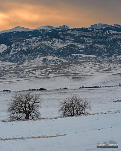 buffalo wyoming winter january cold snow snowy nikond750 nikon180mmf28 telephoto bighornmountains bighornpeak loafmountain evening sunset sky gold golden colorful orange clouds trees stitch foothills