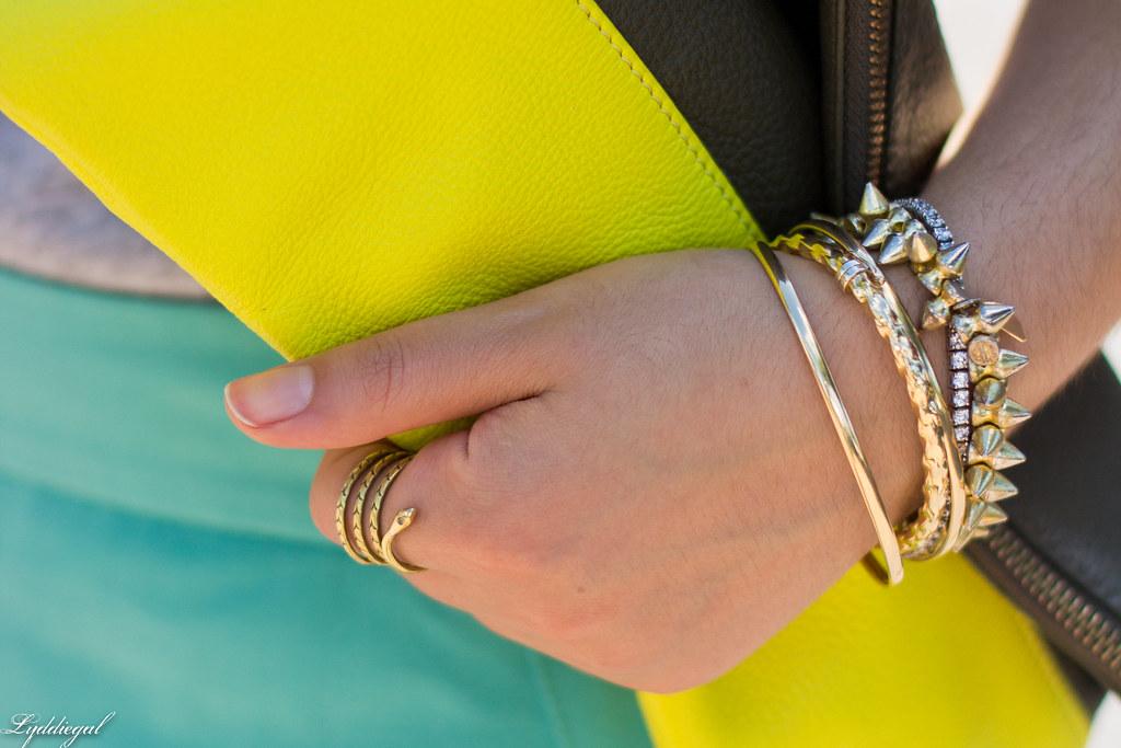 mint green pencil skirt, grey tee, neon clutch-7.jpg