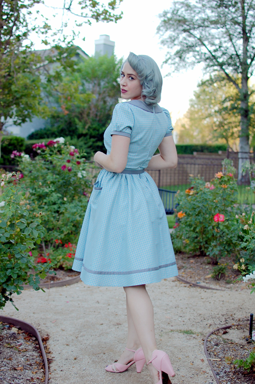 Pinup Girl Clothing Dee Dee Dress in Grey and Baby Blue Gingham