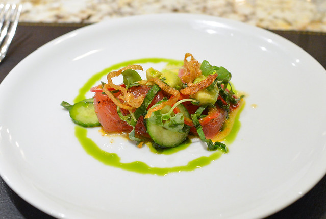 YELLOWFIN TUNA CRUDO pickled fresno chiles, avocado & basil