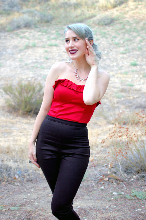 Pinup Girl Clothing Black Cigarette Pants Dixiefried Bustier Top in Red