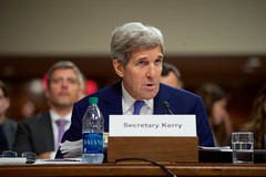 U.S. Secretary of State John Kerry answers a question on July 29, 2015, as he joined U.S. Defense Secretary Ash Carter, Joint Chiefs of Staff Chairman Martin Dempsey, U.S. Treasury Secretary Jack Lew, and U.S. Energy Secretary Dr. Ernest Moniz in testifying about the Iranian nuclear deal before the Senate Armed Services Committee in Washington, D.C. [State Department photo/ Public Domain]