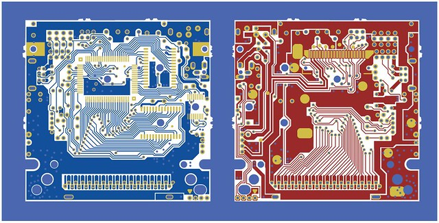 Nintendo Gameboy DMGCPU board traces both sides, all separations