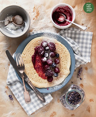 Millet crepes with cherry-lavender marmalade and m…