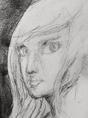 Drawing for #DoodleTuesday. Very small. Pencil and charcoal on Strathmore drawing paper 3.5x5.