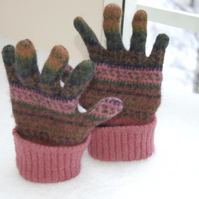 Felted fabric mittens