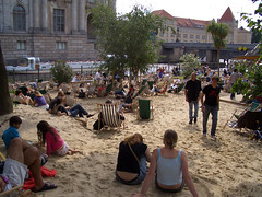 Beach go-ers on one of Berlin's beach bars