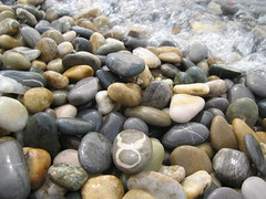 boulder(0.0), pebble(1.0), stream bed(1.0), rock(1.0), gravel(1.0),