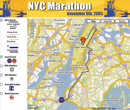 New York City Marathon Google Map Mashup A Photo On Flickriver - New york city map google