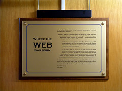 Photo of World Wide Web, Tim Berners-Lee, and Robert Cailliau brass plaque