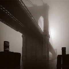 Bridge and sentinels in fog