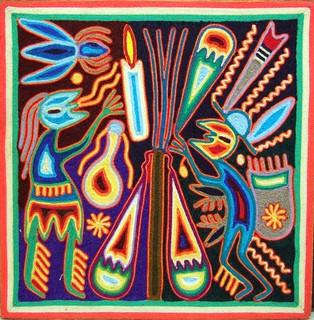 Huichol yarn painting by Rojelio Beuites