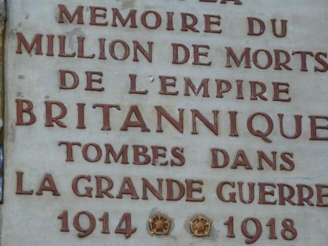 Placa conmemorativa de los caídos británicos en la I Guerra Mundial